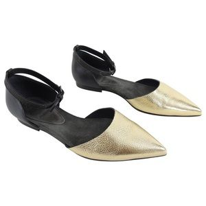 Brunello cucinelli black gold leather pointed flat